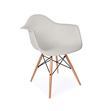 Mid Century Modern Eames Style DAW Light Gray Armchair with Dowel Wood Eiffel - HIGH QUALITY MATTE FINISH