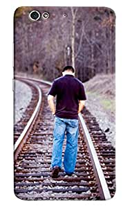 Omnam Guy Walking On Railway Track Printed Designer Back Cover Case For Gionee S6