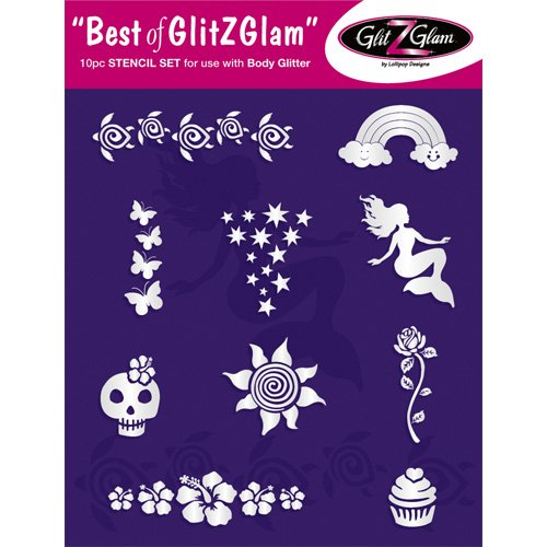 Kids Tattoo Stencil Set: Best of GlitZGlam Temporary Tattoos Stencils Set for children & teenagers