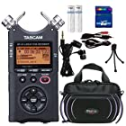 Tascam DR40 Portable Digital Recorder - Carrying Case, Tripod, Earbuds, 8gb SD Card, Batteries, Cables Bundle