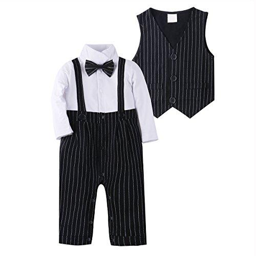 Baby Boy Suit Clothes Adorable Baby Tuxedo Jumpsuit Outfit Romper 2Pcs with Vest