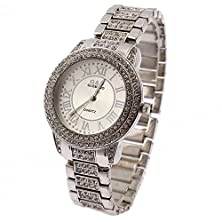 buy Topone G And D Women'S Round Shape One Chain Of White Surface With Diamond And Silver Chain With Diamond Quartz Watch