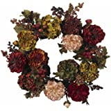 Nearly Natural 4911 Autumn Hydrangea Peony Wreath, 22-Inch, Red