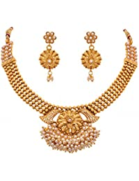 JFL - Exquisite And Ethnic One Gram Gold Plated Designer Pearl Necklace / Jewellery Set For Women