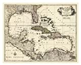 Map of the Gulf of Mexico Art Poster PRINT Unknown 32x26