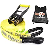 HopOn Slacklines - The Original Slackline Kit (50ft Classic and 80ft Longline) with Tree Protector and DVD