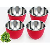 LIEFDE MICRO OVEN SAFE STAINLESS STEEL SERVING BOWL(SET OF 4 BOWLS)-13 CM