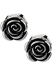 """Rose Blossom Surgical Steel Double Flare Plugs - 2G-5/8"""" - Pair"""