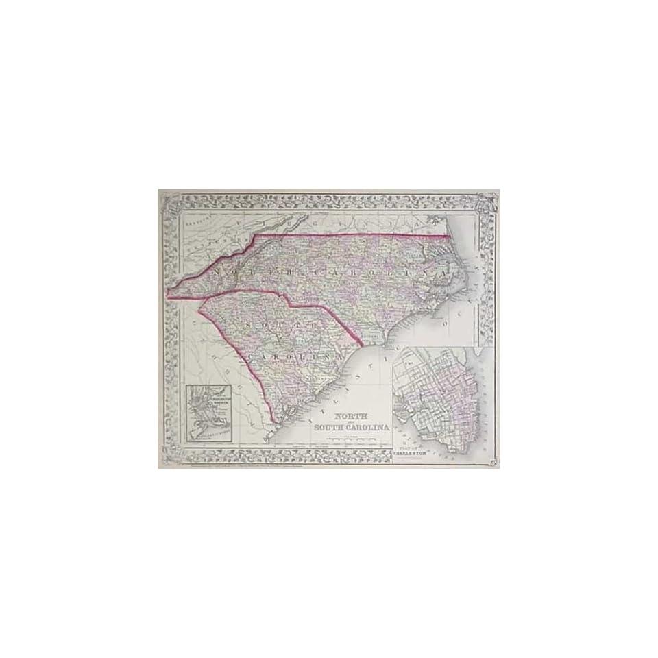 Mitchell 1879 Map of North Carolina and South Carolina