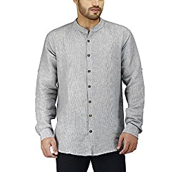PRAKUM Men's Cotton Slim Fit Shirt (MD-271, Gray, S )