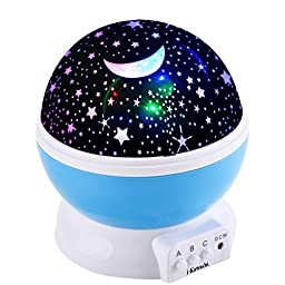 i-Kawachi(TM) Baby Night Light Moon Star Projector 360 Degree Rotation - 4 LED Bulbs 9 Light Color Changing With USB Cable