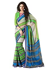 Indian Designer Sari Lovely Contemporary Printed Faux Georgette Saree By Triveni