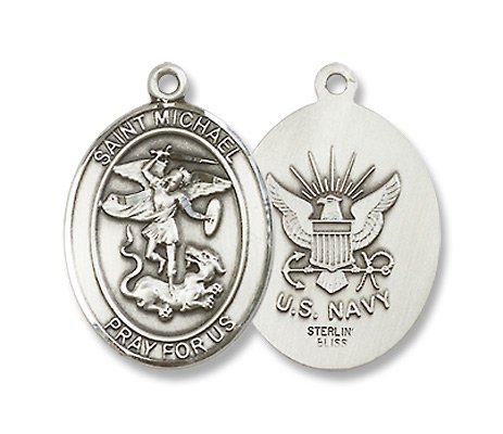 St. Michael the Archangel Sterling Silver Medal with 18