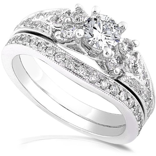 1.00ctw Round Brilliant Diamond Wedding Ring Set in 14Kt White Gold (HI/I1-I2) - Size 4
