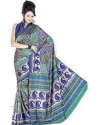 Samskruti Exclusive Meenakari Blue Printed Art Silk Fancy Saree (18257)