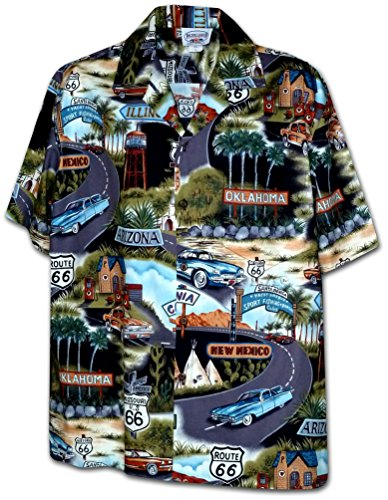 Historic Route 66 Mens Car Shirts Black
