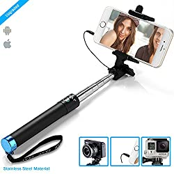 ZAAP®(USA) NUSTAR3 Extendable Premium Stainless Steel Selfie Stick (Battery-Free) with In-built Remote Shutter for iPhone, Andriod, Gopro & other Smartphones