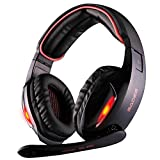GW SADES SA902 7.1 Channel Virtual USB Surround Stereo Wired PC Gaming Headset Over Ear Headphones with Mic Revolution Volume Control Noise Canceling LED Light(Black&Red)