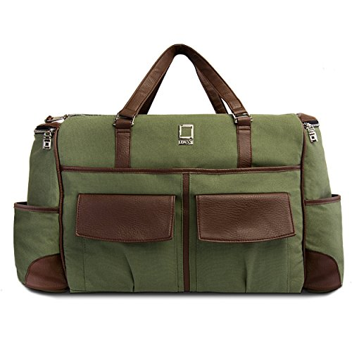 lencca-green-and-brown-alpaque-duffel-water-resistant-luggage-laptop-bag-for-dell-xps-chromebook-ins