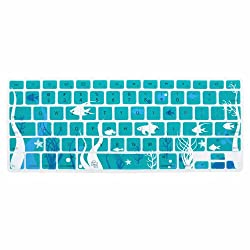 Case Star Ocean series Aqua Blue Keyboard Silicone Cover Skin With The Seaweed And Fish Pattern for Macbook 13 Unibody / Macbook Pro 13 15 17 Case Star Cellphone Bag