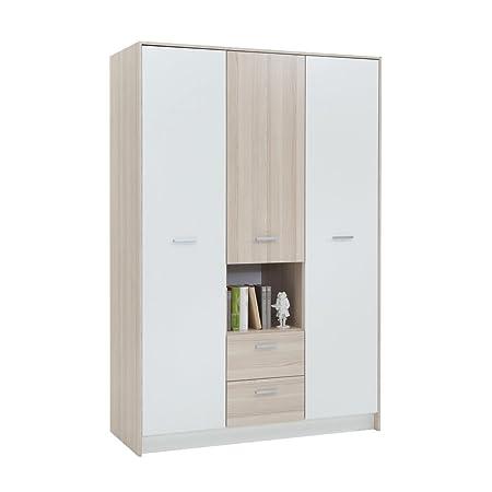FMD Möbel 806-007 Kleiderschrank Madagaskar 7 (B/H/T) 133.5 x 199.0 x 56.0 cm, esche/weiß