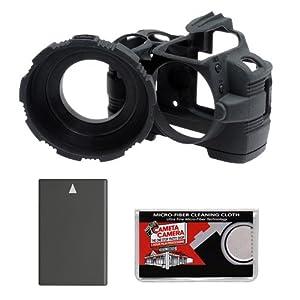 MADE Rubberized Camera Armor (Black) for Nikon D40, D40x & D60 Digital SLR Camera + EN-EL9a Battery + Cleaning Cloth