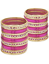 Touch Of The Tribe Bangle Set- Pink Lacquer Wedding Bangles For Women