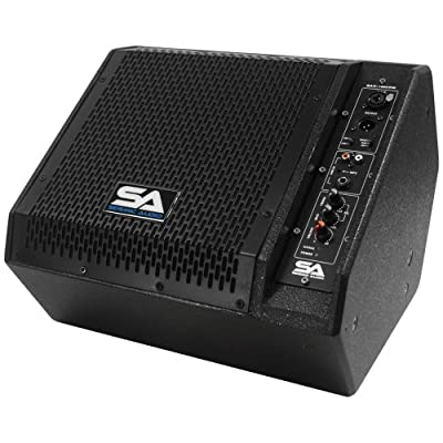 Seismic Audio - SAX-10M-PW - Powered Compact 10-Inch 2-Way Coaxial Floor/Stage Monitor with Titanium Horn from Seismic Audio Speakers, Inc.