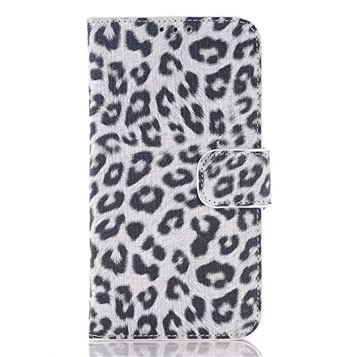 (Surprised) Samsung Galaxy S6 Case Retro Leopard Skin Design Case Handmade Wallet Book Cover with Credit Card ID Case – leopard print Slim Wallet Card Flip Stand Leather Pouch Case Cover (Pattern is different and random delivery) (AT&T, T-Mobile, Sprint, Verizon) (S6 leopard all white)