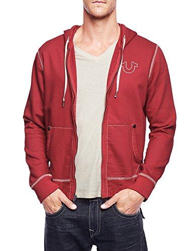 true religion mens long sleeve contrast big t hoodie red