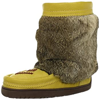 Soft rabbit fur is draped from a scalloped cuff in this outdoor-chic beaded boot.