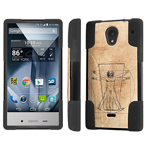 NakedShield Sharp AQUOS Crystal Virtruvian Man T Armor Tough Shock Proof KickStand Phone Case (Aquos Sharp Phone Case For Men compare prices)