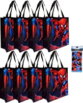 "Hot Sale 8-pack Spiderman Tote Bags (15""x14""x6"" Woven Reusable) AND a Rare 4-sheet Spiderman Sticker Set (3""x6"") --- Spiderman Party Supplies and Favors for Kids"