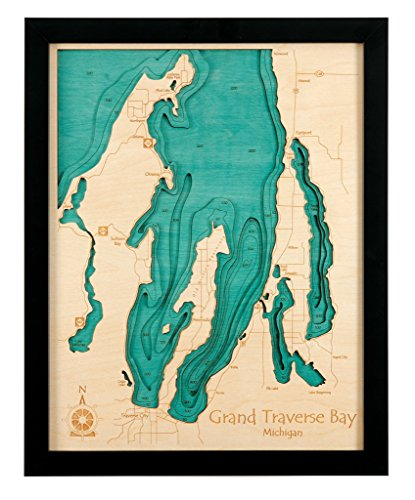 Norris Lake (West Central Sphere) in Campbell Union Anderson Claiborne Grainger, TN - 3D Map (Black Frame/No Glass Front) 14 x 18 IN - Laser carved wood sailing chart and topographic depth map.