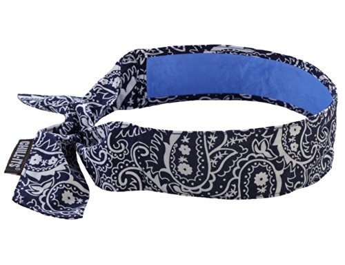 Best Buy! Ergodyne Chill-Its 6700CT Evaporative Cooling Bandana with Cooling Towel - Tie, NAVY