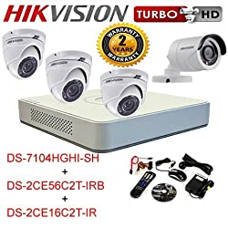 Turbo HD 4 Ch DVR Bullet dome Camera Combo kit (DS-7104HGHI-SH + DS-2CE16C2T-IR + DS-2CE56C2T-IRB)
