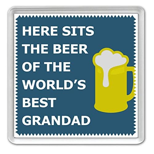 Here Sits The Beer of the World's Best Grandad - Coaster - Great Birthday gift or Perfect Christmas present idea!