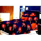 TRUFFELS 3D DOUBLE XL BEDSHEET, LIPSTICK & LIPS PRINT BEDSHEET WITH PILLOW COVERS, BLUE BEDSHEETS FOR LADIES