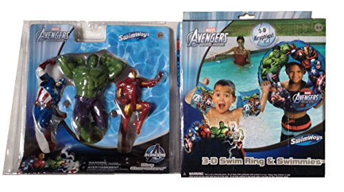 Marvel Avengers 3-D Swim Ring w/ Swimmies & Character Dive Toys!
