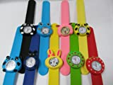 1x kids children's (boys or girls) slap on snap silicone band Mickey, Nemo, bees, frog, panda, bunny wrist watches for party gift bags by Fat-catz (1x girls snap watch)