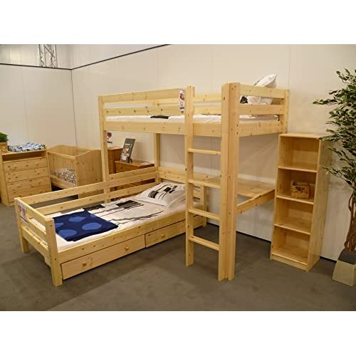 TOM NATURAL PINE 'L SHAPED' HIGH SLEEPER BED WITH SINGLE BED AND PLAY SPACE FROM CENTURION PINE