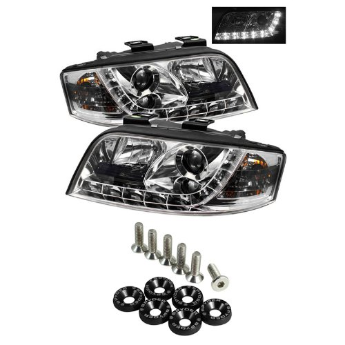 Carpart4U Audi A6 Drl Led Projector Headlights - Chrome & Spyder Washer 6Pcs - Black