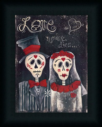 Love Never Dies by Jill Ankrom Sugar Skull Wedding Art Print Framed ...