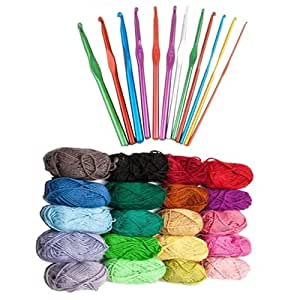Pack Of 12 Curtzy Crochet Hooks 2mm-8mm and New Knitting Fashion Acrylic Yarn Wool Variety Pack 20 x 25g Balls - Assorted Mixed Colours by Curtzy TM