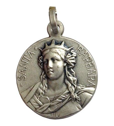 Medaglia di Santa Barbara In Argento Massiccio 925 - Patrona dei Vigili del Fuoco