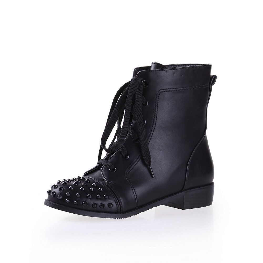QueenFashion Women's Punk Style Colorant Match Lace-up Ankle Boots with Rivets