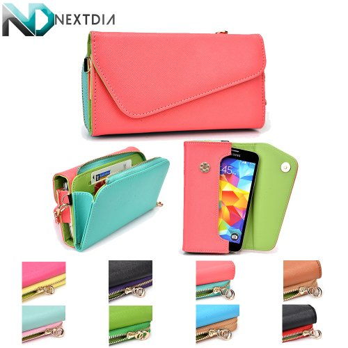 htc-zara-mini-womens-wristlet-clutch-case-semi-gloss-salmon-pink-and-sky-blue-with-matte-olive-green