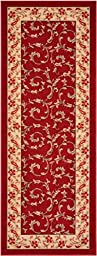 Rubber Collection Veronica Burgundy Dark Red Printed Slip Resistant Rubber Back Latex Traditional Runner Area Rug Runners (Red Burgundy, 23\