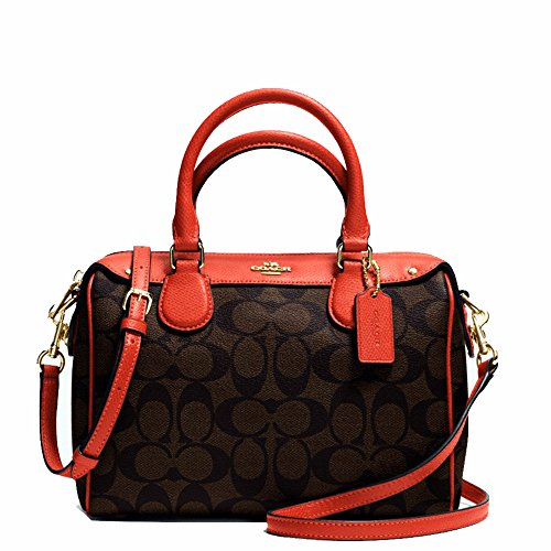 New Authentic COACH Signature Small Mini Bennett Brown/Carmine Satchel Crossbody Bag
