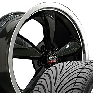 Bullitt Style Deep Dish Wheels and Tires with Machined Lip Fits Mustang (R) - Black 18x9 Set of 4